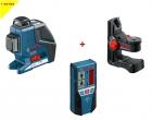 Nivela laser cu linii + receptor laser + suport universal Bosch GLL 2-80 P + BM 1 + LR 2