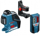 Nivela laser cu linii + suport universal + receptor laser Bosch  GLL 3-80 P + BM 1 + LR 2